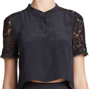 Rebecca Taylor cropped silk and lace top